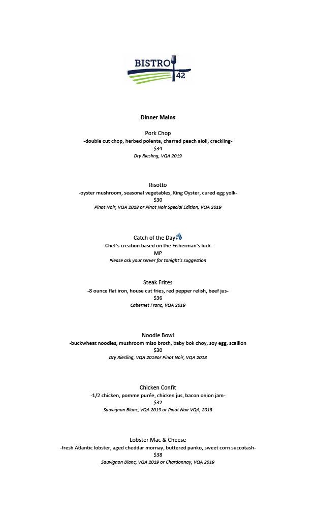 Bistro 42 Dinner Menu Feast On Oceanwise
