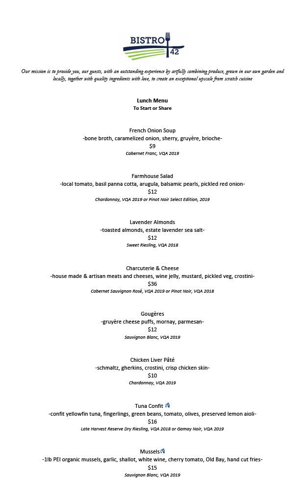 Bistro 42 Summer lunch menu